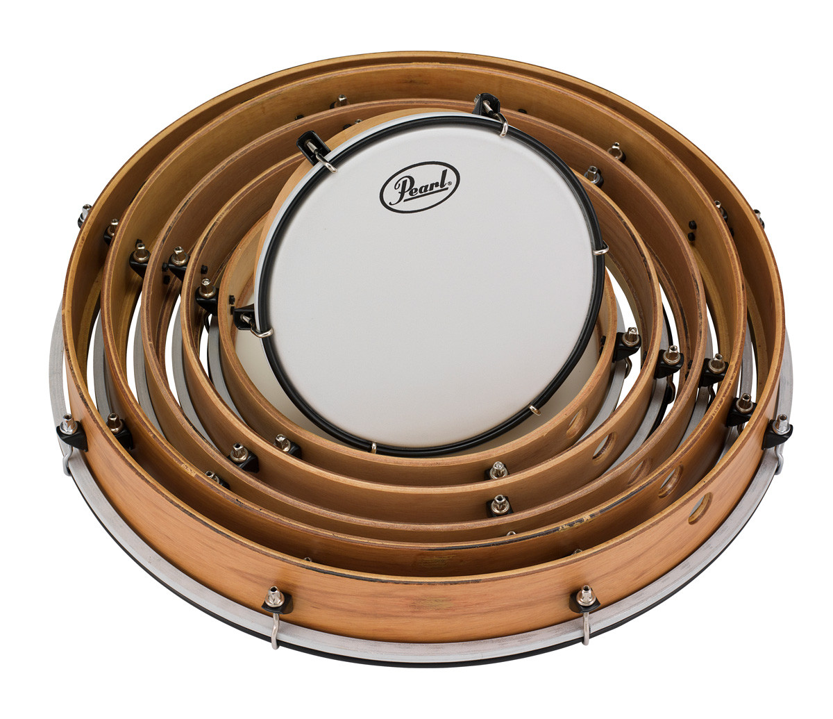pearl tunable frame drum pack includes 8 10 12 14 16 18 drums w coated heads drums on sale. Black Bedroom Furniture Sets. Home Design Ideas
