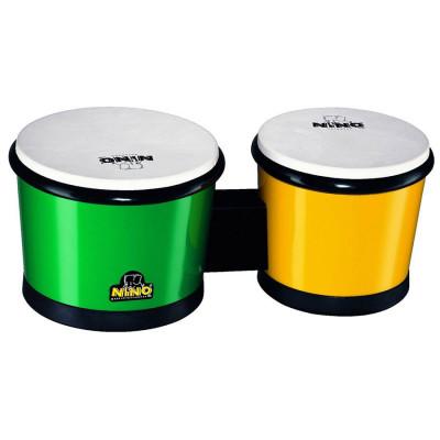 """Meinl NINO ABS Bongos 6 1/2"""" & 7 1/2"""" Green/ Yellow"""