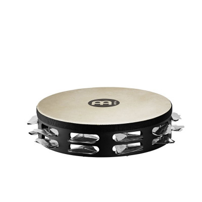 Meinl Headed Super Dry Studio Tambourine Steel Jingles 2 Rows Black
