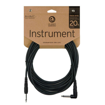 "Planet Waves 20' Classic Series 1/4"" Instrument Cable w/ Right Angle"