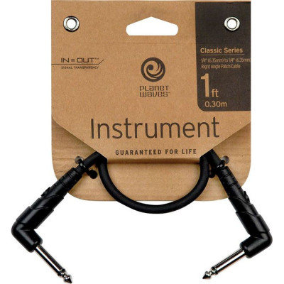 "Planet Waves 1' Classic Series 1/4"" Right Angle Patch Cable"
