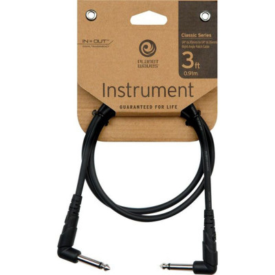 "Planet Waves 3' Classic Series 1/4"" Right Angle Patch Cable"