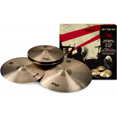 "Stagg SH Series Set - 20"" Ride, 16"" Crash, 14"" Hihat + Cymbal Bag"
