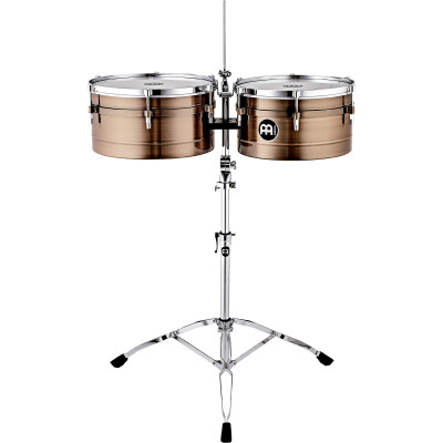 """Meinl Artist Series Amadito Valdes 14"""" & 15"""" Antique Bronze Timbales - Stand/Cowbell Holder"""