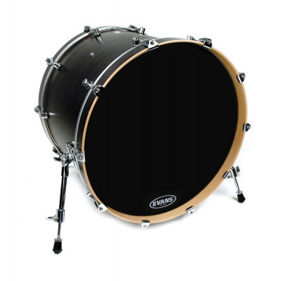 "Evans 20"" EQ3 Resonant Black Bass Drum Head - No Port"