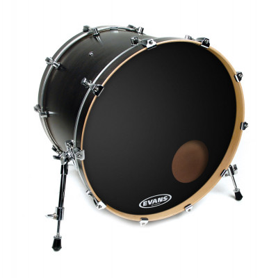 "Evans 24"" Onyx Resonant Frosted Black w/ 5"" Hole"