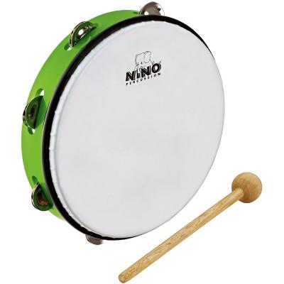 "Meinl NINO ABS 10"" Tambourine 1 Row Jingles w/ Beater Grass-Green"