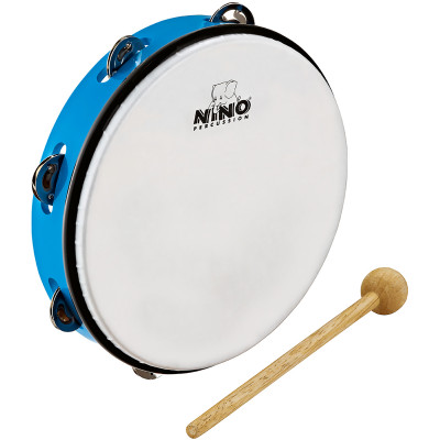"Meinl NINO ABS 10"" Tambourine  1 Row Jingles w/ Beater Sky-Blue"
