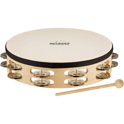 Meinl NINO Headed Wood Tambourine 2 Rows Natural