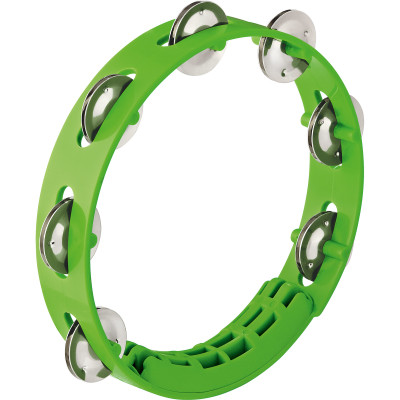 "Nino Percussion Compact ABS Tembourine, Grass Green, 8"", 1 Row Version"