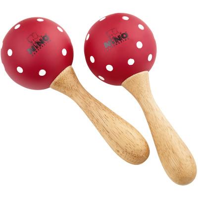 Meinl NINO Wood Maracas Medium Red w/ White Polka Dots