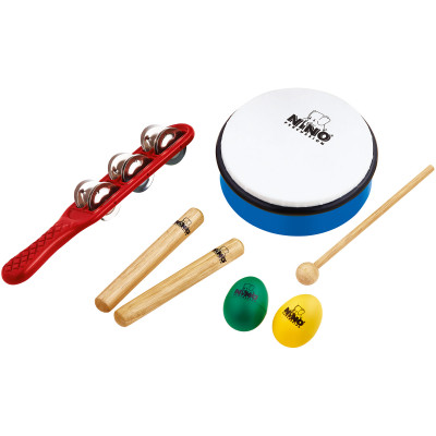 "NINO Set incl. 1 Red Jingfle Stick, 1 Pair Small Claves, 1 Blue Egg Shaker, 1 Yellow Egg Shaker, 1 ABS 6"" Sky Blue Hand Drum & 1 Beater"