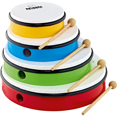 Nino Percussion Hand Drum Set with 4 Drum Sizes, Includes 4 Mallets and Bag