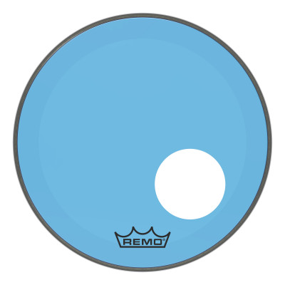 """Remo Powerstroke P3 Colortone Blue Bass Drumhead 18"""" 5"""" Offset Hole"""