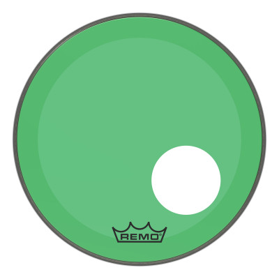 "Remo Powerstroke P3 Colortone Green Bass Drumhead 18"" 5"" Offset Hole"