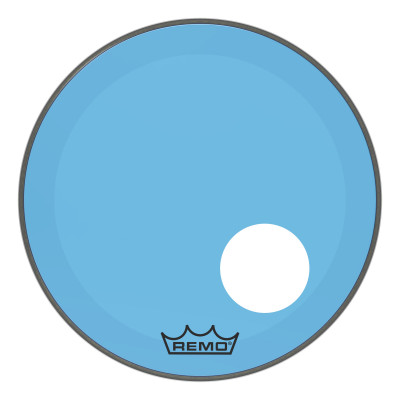 """Remo Powerstroke P3 Colortone Blue Bass Drumhead 20"""" 5"""" Offset Hole"""