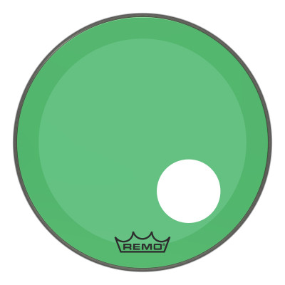 "Remo Powerstroke P3 Colortone Green Bass Drumhead 20"" 5"" Offset Hole"