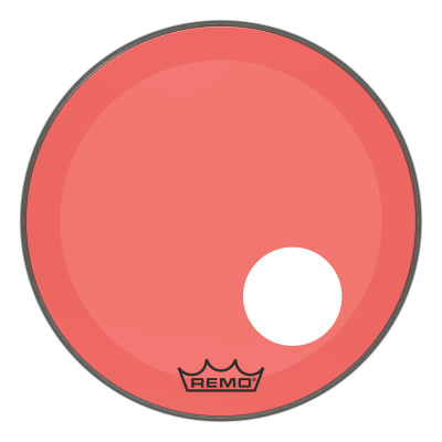 """Remo Powerstroke P3 Colortone Red Bass Drumhead 20"""" 5"""" Offset Hole"""