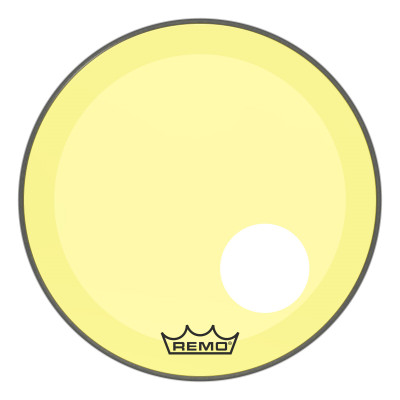 """Remo Powerstroke P3 Colortone Yellow Bass Drumhead 20"""" 5"""" Offset Hole"""