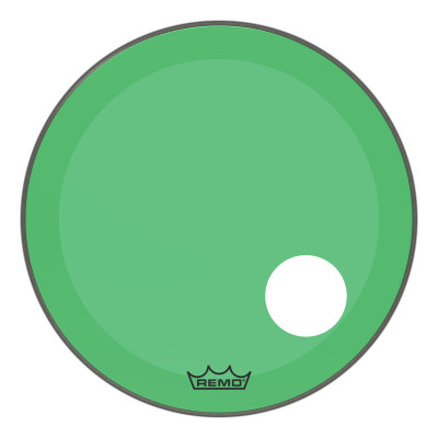 "Remo Powerstroke P3 Colortone Green Bass Drumhead 22"" 5"" Offset Hole"
