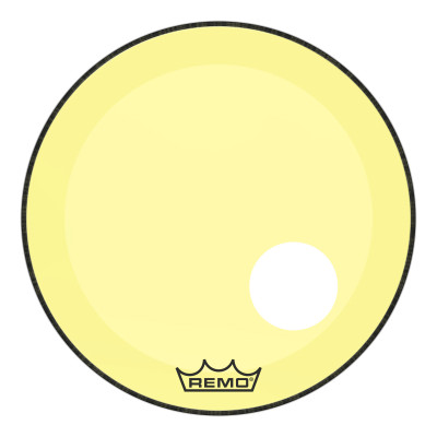 "Remo Powerstroke P3 Colortone Yellow Bass Drumhead 22"" 5"" Offset Hole"