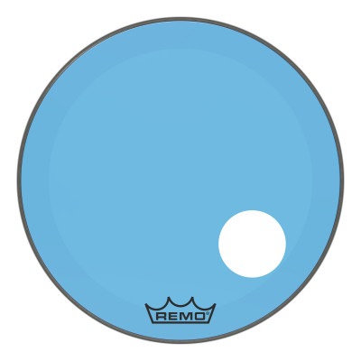 """Remo Powerstroke P3 Colortone Blue Bass Drumhead 24"""" 5"""" Offset Hole"""