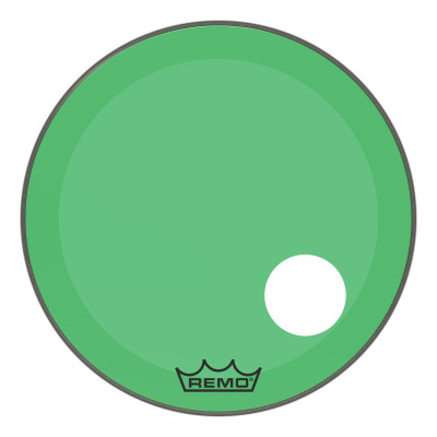"Remo Powerstroke P3 Colortone Green Bass Drumhead 24"" 5"" Offset Hole"