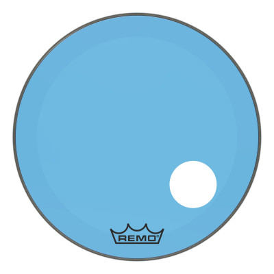 """Remo Powerstroke P3 Colortone Blue Bass Drumhead 26"""" 5"""" Offset Hole"""