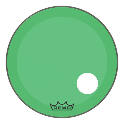 "Remo Powerstroke P3 Colortone Green Bass Drumhead 26"" 5"" Offset Hole"