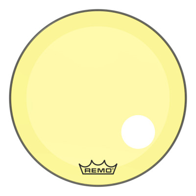 "Remo Powerstroke P3 Colortone Yellow Bass Drumhead 26"" 5"" Offset Hole"