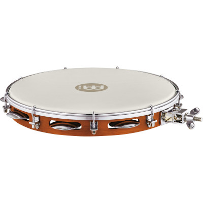 """Meinl Wood Pandeiro with Holder 12"""" True Feel Synthetic Head Chest Nut"""