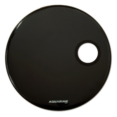 "18"" Aquarian Regulator Front Bass Drumhead - Black w/ 4 .75"" Hole  - RSM18"