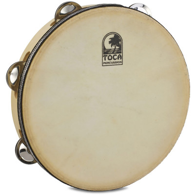"Toca 9"" Single Row Wood Tambourine with head"