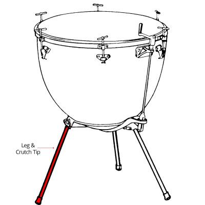"""Ludwig Tubular Leg 22"""" w/ Crutch Tip for 20"""" Kettle"""