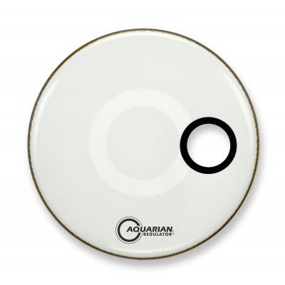 "22"" Aquarian Regulator Front Bass Drumhead - White w/ 4 .75"" Hole"