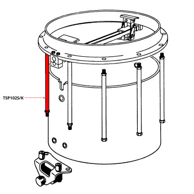 Pearl FFX Tension Post for Pipe Snare Strainer Attachment - Polished Finish